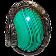 Vintage Old Pawn Native American Navajo Sterling Malachite Stone Huge Statement Ring Size 6 Squash Blossom Design