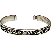 Native American Navajo Sterling Silver Storyteller Cuff Bracelet Hand Etched Native American Cuff