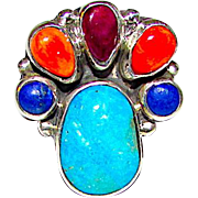 Native American Navajo Sterling Silver Turquoise Lapis Spiny Oyster Ring Sz 7 Collectible Artists Vernon & Clarissa Hale