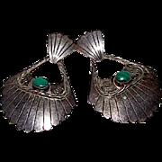 Vintage Navajo Sterling Silver Green Malachite Native American Large Statement Pierced Earrings