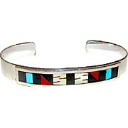 Native American Zuni Sterling Silver Turquoise Coral MOP Jet Mosaic Inlay Cuff Bracelet Singed