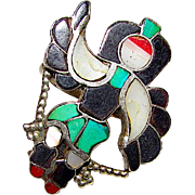 Old Pawn Zuni Sterling Silver Turquoise Coral MOP Jet Inlay Kachina Hoop Dancer Ring Size 6 Rare