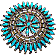Old Pawn Zuni Sterling Silver Kingman Turquoise Rosette Cluster Brooch Pin Pendant Large Pin Highly Collectible Nathaniel & Rosemary Nez