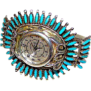 Old Pawn Zuni Sterling Silver Turquoise Lady's Watch Cuff Bracelet Highly Collectible Nathaniel & Rosemary Nez