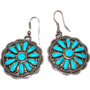 Native American Navajo Sterling Silver Turquoise Pierced Dangle Statement Earrings Cluster Rosette Design Navajo Artist Benjamin Piaso