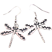 Native American Hopi Sterling Silver Dragonfly Pierced Dangle Earrings