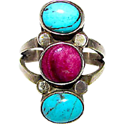 Native American Navajo Sterling Turquoise and Purple Sugilite Ring Size 6 Fred Begay