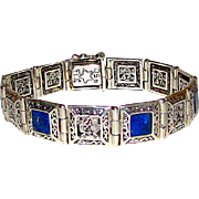 950 Silver Lapis Lazuli Reversible Filigree Statement Bracelet Tribal Deity Design