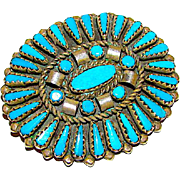 Old Pawn Zuni Sterling Silver Kingman Turquoise Rosette Cluster Brooch Pin Pendant
