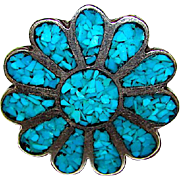 Native American Navajo Old Pawn Sterling Silver Turquoise Chip Inlay Flower Design Ring Size 9