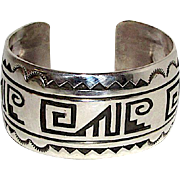 Native American Navajo Sterling Silver Large Statement Cuff Bracelet Tribal Design by the Highly Collectible Navajo Artist Rosco Scott