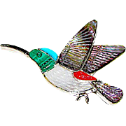 Vintage Native American Zuni Sterling Silver Turquoise Coral Shell MOP Humming Bird Brooch/ Pin Pendant Figurals Brooch Whimsical Pin