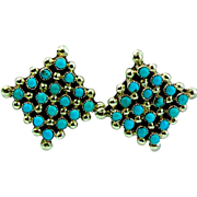 Vintage Native American Zuni Sterling Silver Turquoise Rosette Cluster Pierced Post  Earrings Snake Eye Design