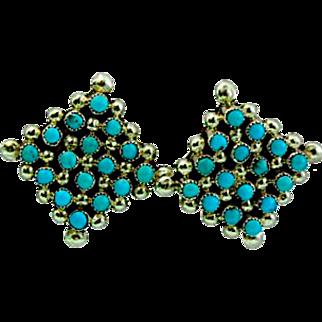 Vintage Native American Zuni Sterling Silver Turquoise Rosette Cluster Pierced Post  Earrings Snake Eye Design