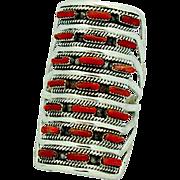 Vintage Zuni Sterling Silver Mediterranean Coral Cluster Huge Statement Ring Size 9.5