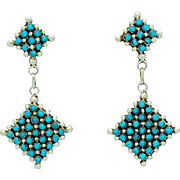 Vintage Native American Zuni Sterling Silver Turquoise Rosette Cluster Pierced Dangle Earrings Snake Eye Design