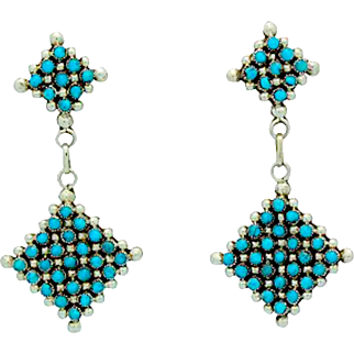 Vintage Native American Zuni Sterling Silver Turquoise Rosette Cluster Pierced Dangle Earrings Snake Eye Design
