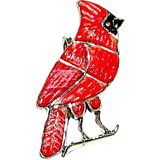 Vintage Zuni Sterling Silver Coral Jet Inlay Cardinal Bird Brooch/ Pin Pendant Figural Brooch Whimsical Pin