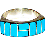 Vintage Zuni Sterling Silver Sleeping Beauty Mine Turquoise Inlay Statement Ring Size 8