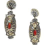 Vintage Navajo Sterling Silver Mediterranean Coral Pierced Dangle Statement Earrings