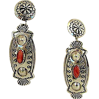 Vintage Navajo Sterling Silver Mediterranean Coral Pierced Dangle Statement Earrings