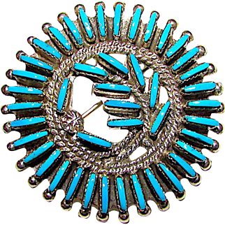 Old Pawn Zuni Sterling Silver Turquoise Rosette Cluster Brooch Pin Pendant Signed