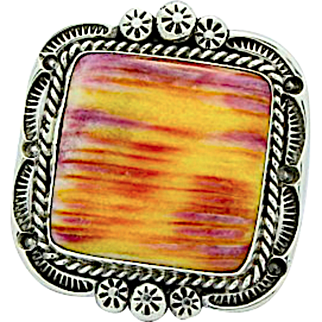Vintage Navajo Sterling Silver Purple Sunset Spiny Oyster Statement Ring Size 7 B Begay