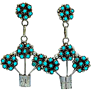 Vintage Native American Zuni Sterling Silver Turquoise Rosette Cluster Pierced Dangle Earrings Snake Eye Turquoise Floral Design Signed