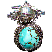 Navajo Sterling Silver Dry Creek Turquoise Kachina Ring Size 8 Highly Collectible Benny Ration Singed