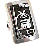 Native American HOPI Sterling Silver Kachina Ring Size 8 Rare