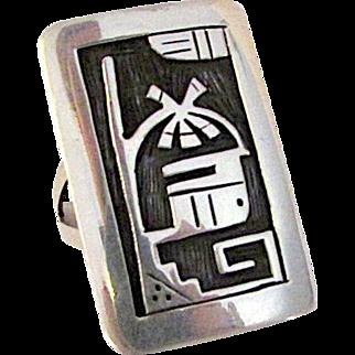 Native American HOPI Sterling Silver Kachina Ring Size 8 Rare