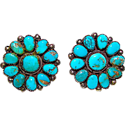 Old Pawn Navajo Sterling Silver Turquoise Rosette Cluster Screw Back Earrings