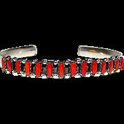 Vintage Native American Zuni Sterling Silver Mediterranean Coral Cuff Bracelet Signed