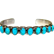 Vintage Navajo Sterling Silver Kingman Mine Turquoise Sand Cast Cuff Bracelet by Collectible Artist Wilson Begay