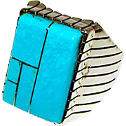 Navajo Men Sterling Silver Turquoise Channel Inlay Statement Ring Size 9.5