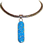 Zuni Carmichael Haloo Sterling Silver Turquoise Inlay Pendant Collar Statement Necklace