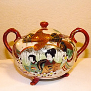 Exquisite unique Japanese KUTANI GEISHA  sugar bowl
