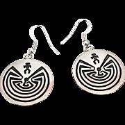 HOPI Sterling Silver Man in a Maze Pierced Statement Dangle Earrings