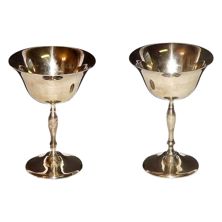 Silver Plated Wine Champagne Glasses Goblets By Leonard