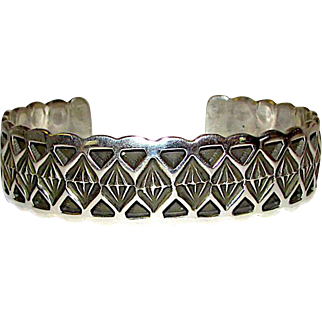 Navajo Sterling Silver Cuff Bracelet Hand Etched Tribal Design Highly Collectible J Cadman