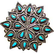 Zuni Sterling Silver Sleeping Beauty Mine Turquoise Petit Point Pin Brooch Pendant Signed