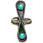 Old Pawn Zuni Sterling Silver Turquoise Statement Ring Size 6