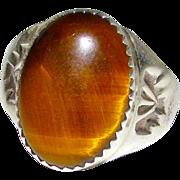 Vintage Pawn Navajo Sterling Silver Tiger Eye Stone Statement Ring Size 9.5 Thunderbird Design