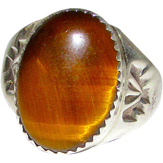 Vintage Pawn Navajo Sterling Silver Tiger Eye Stone Statement Ring Size 9.5 Thunderbird Design