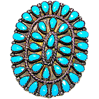 Old Pawn Navajo Sterling Silver Turquoise Cluster Statement Ring Size 7
