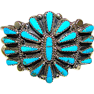 Vintage Navajo Sterling Silver Turquoise Cluster Rosette Statement Cuff Bracelet by Highly Collectible Tommy Lowe