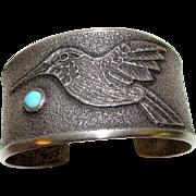 Navajo Sterling Silver Pilot Mountain Turquoise Tufa Cast Cuff Bracelet Museum Quality Hummingbird Bracelet Monty Claw