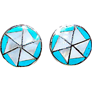 Zuni Sterling Silver Turquoise Mother of Pearl Mosaic Inlay Post Earrings