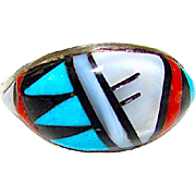 Zuni Sterling Silver Turquoise Coral Mother of Pearl Jet Mosaic Inlay Ring in Size 7