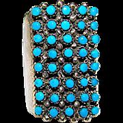 Zuni Sterling Silver Snake Eye Sleeping Beauty Mine Turquoise Ring Size 9 Signed